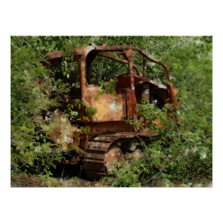 Old Rustic Tracked Loader  Excavation Machine Poster