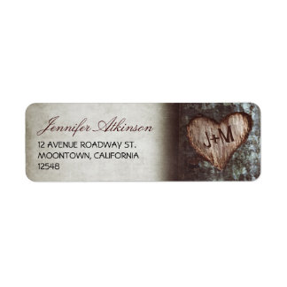 old rustic tree wedding return address labels