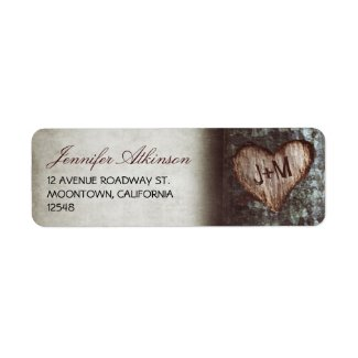 old rustic tree wedding return address labels