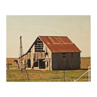Old Rusty Barn on the Open Plains Wood Wall Art