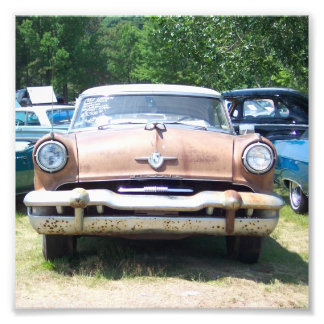 old rusty classic car front at a car show photo print