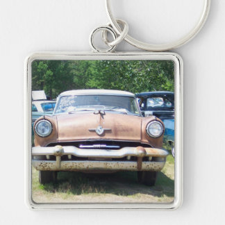 old rusty classic car front at a car show Silver-Colored square keychain