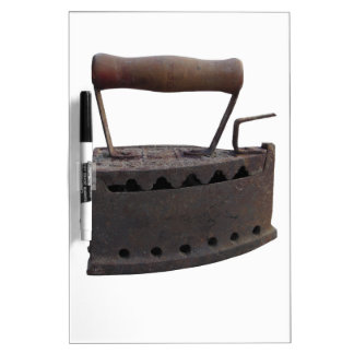 Old rusty iron on white background dry erase board