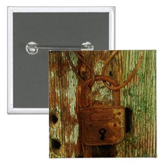 Old rusty lock button 2 inch square button