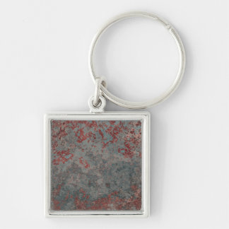 Old Rusty Metal Textured Silver-Colored Square Keychain