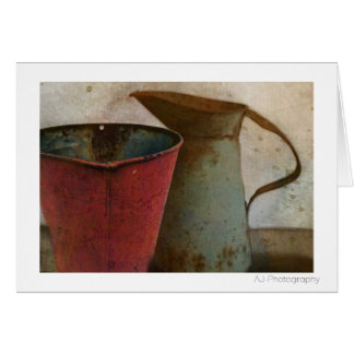 old Rusty Milk Pitcher and Pail Card