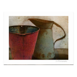 old Rusty Milk Pitcher and Pail Postcard