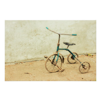 Old Rusty Rickety Tricycle Retro Poster