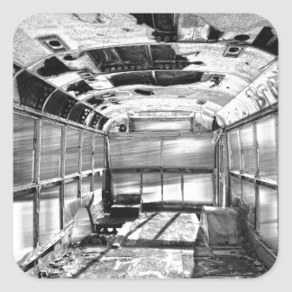 Old Rusty School Bus In Motion BW Square Sticker