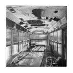 Old Rusty School Bus In Motion BW Tiles