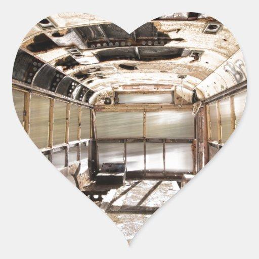 Old Rusty School Bus In Motion Heart Sticker