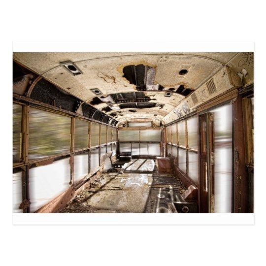 Old Rusty School Bus In Motion Postcard