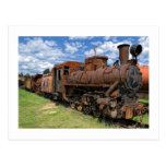 Old rusty steam locomotive post card