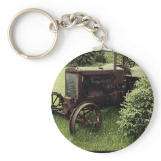 Old Rusty Tractor Keychain