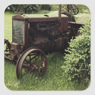 Old Rusty Tractor Square Sticker