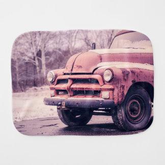 Old rusty truck baby burp cloths