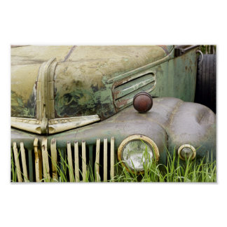 Old Rusty Truck Hood Poster