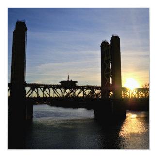 Old Sacramento Bridge 5.25x5.25 Square Paper Invitation Card