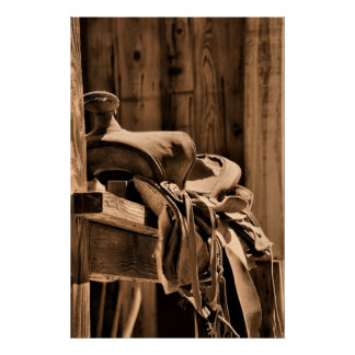 Old Saddle Canvas Poster