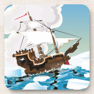 Old Sail ship in the Arctic Ocean Beverage Coaster