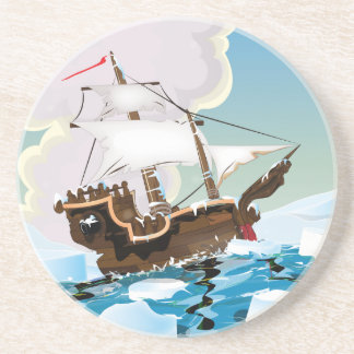 Old Sail ship in the Arctic Ocean Drink Coaster