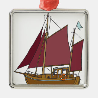 Old sailing boat, cutter metal ornament