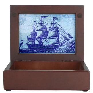 Old Sailing Ship and Map Blue Nautical Memory Box