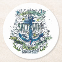 Old Sailor Anchor Poster Round Paper Coaster