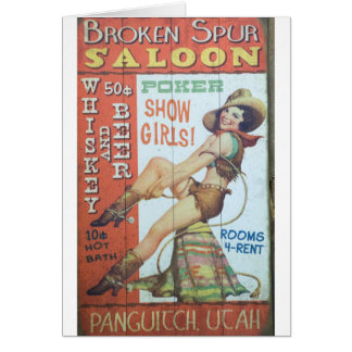 Old Saloon Sign Card