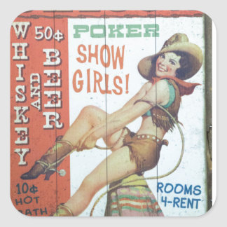 Old Saloon Sign Square Sticker