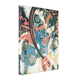 Old Samurai Killing a Monster Painting Canvas Print