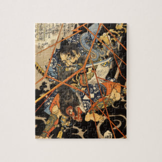 Old Samurai Killing a Monster Painting Puzzles