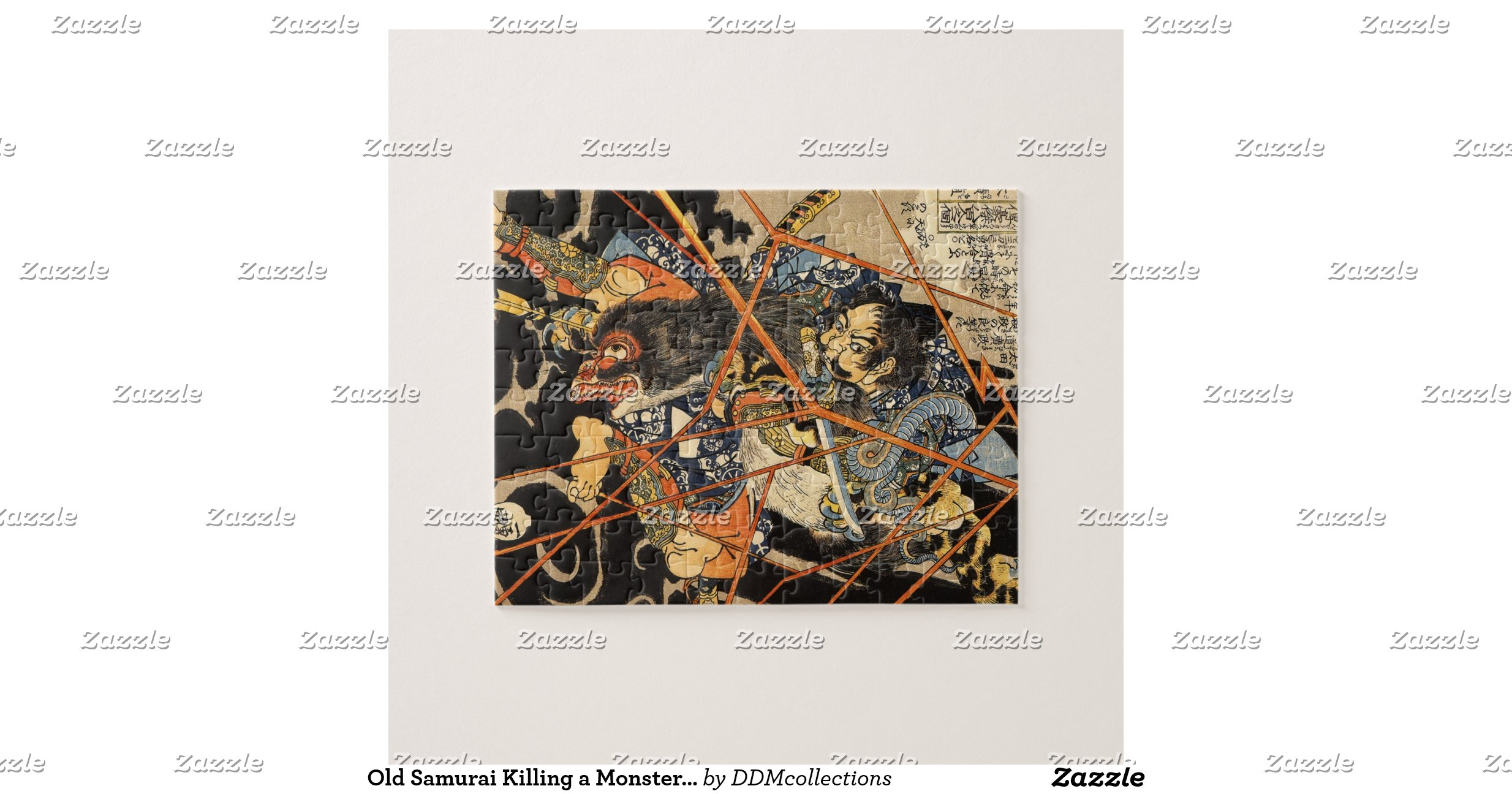 old samurai killing a monster painting puzzles    Old Samurai Painting