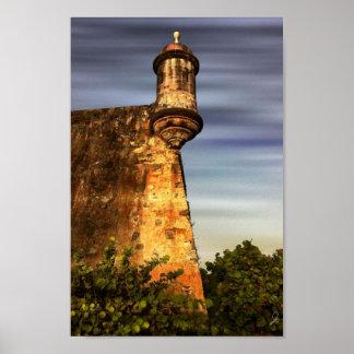 Old San Juan Photo Art Poster - Garita at Sunset