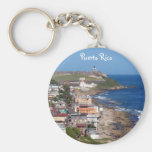 Old San Juan, Puerto Rico Coastline Basic Round Button Keychain