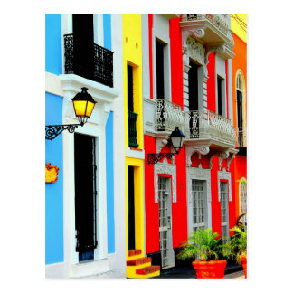 Old San Juan - Vibrant Row Houses dot the streets Post Cards