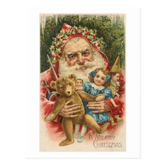 Old Santa and Toys Postcard