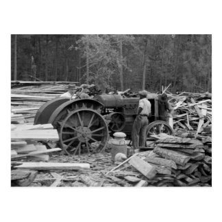 Old Sawmill Tractor, 1935 Postcard