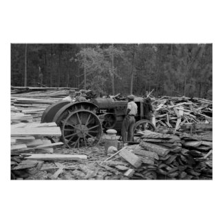 Old Sawmill Tractor, 1935 Poster