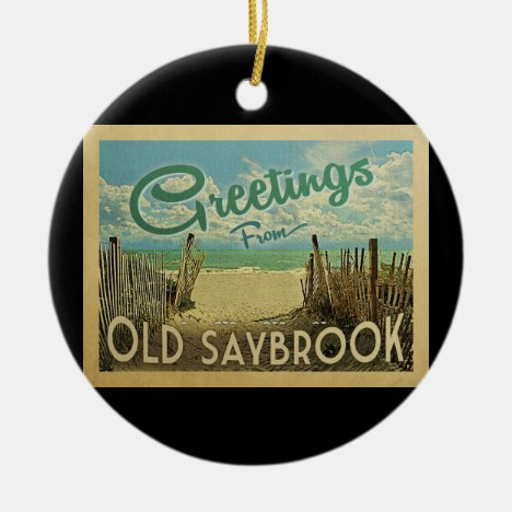 Old Saybrook Beach Vintage Travel Ceramic Ornament