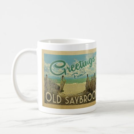 Old Saybrook Beach Vintage Travel Coffee Mug
