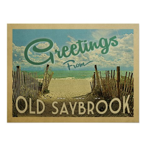 Old Saybrook Beach Vintage Travel Poster