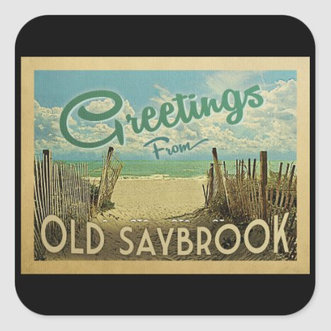 Old Saybrook Beach Vintage Travel Square Sticker