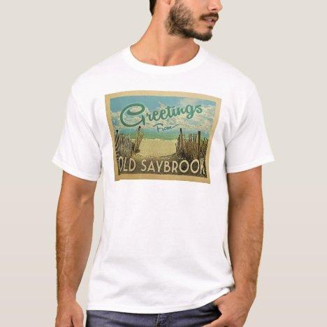 Old Saybrook Beach Vintage Travel T-Shirt