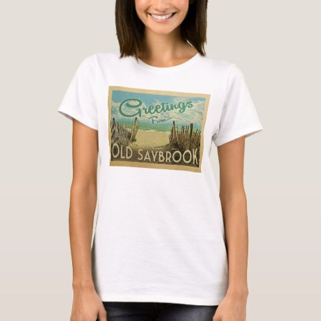Old Saybrook Beach Vintage Travel T-Shirt