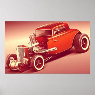Old school 1934 Hot rod  vintage colors Poster