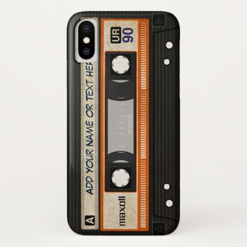 Old School 80s DJ Music Cassette Tape Pattern iPhone XS Case