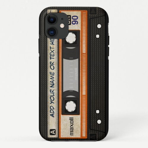 Old School 80s DJ Music Cassette Tape Pattern iPhone 11 Case