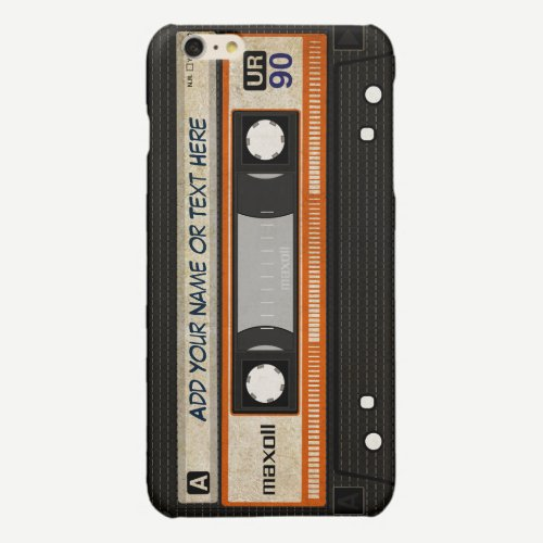 Old School 80s DJ Music Cassette Tape Pattern Glossy iPhone 6 Plus Case