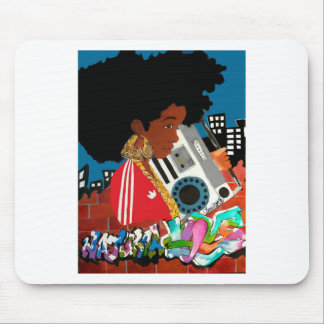 Old School Afro Girl Mouse Pad